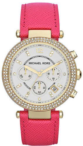 MICHAEL KORS Ladies' Gold-Tone Crystal & Leather Chronograph Watch