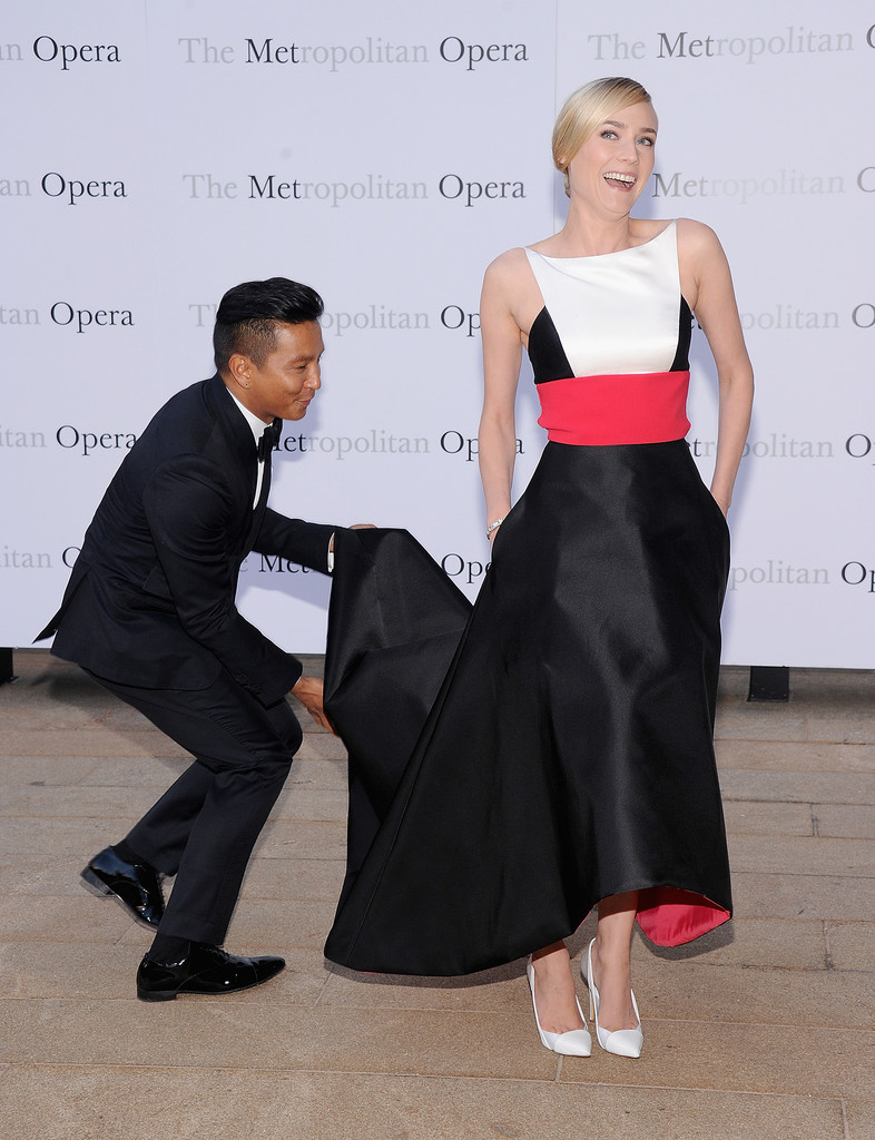 Designer Prabal Gurung helped Diane Kruger on the red carpet.