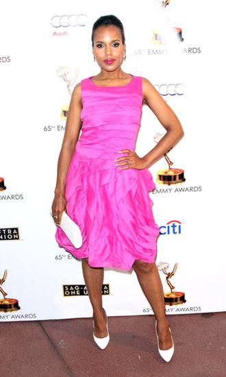 Kerry Washington was pretty in pink in her tiered Halston Heritage dress, white Nancy Gonzalez clutch, and white Brian Atwood pumps at the 65th Emmy Awards nominee celebration in LA.
