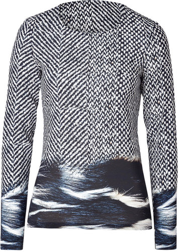 Roberto Cavalli Viscose Stretch Printed Top in Black/Light Grey
