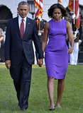 President Obama and the first lady, clad in a royal-purple shift, walked hand in hand during the 9/11 anniversary memorial in Washington. That dress needed little else but small drop earrings and black patent pumps.