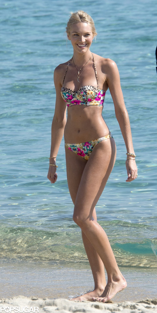 Candice Swanepoel walked on the beach during her Victoria's Secret photo shoot.