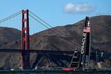 Oracle Team USA and Emirates Team New Zealand passed the Golden Gate Bridge during the America's Cup finals.