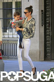Miranda Kerr carried her son, Flynn Bloom, as they left their apartment in NYC.