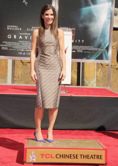 Sandra Bullock posed while leaving her footprint at the ceremony in LA.