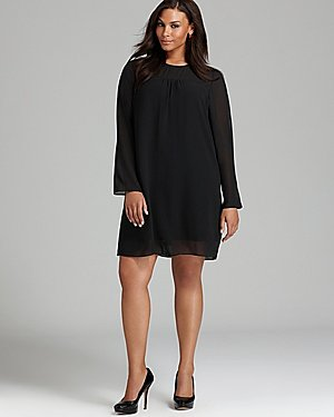 anna scholz plus Georgette Tunic Dress with Sheer Sleeves