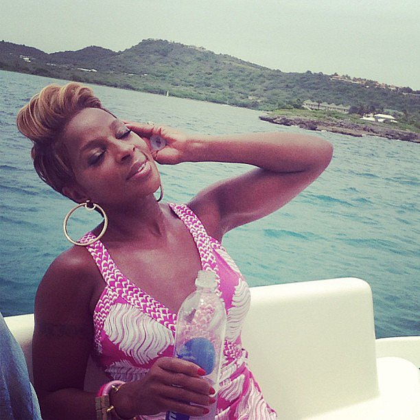 Mary J. Blige relaxed on a yacht. Source: Instagram user brooklynnblige