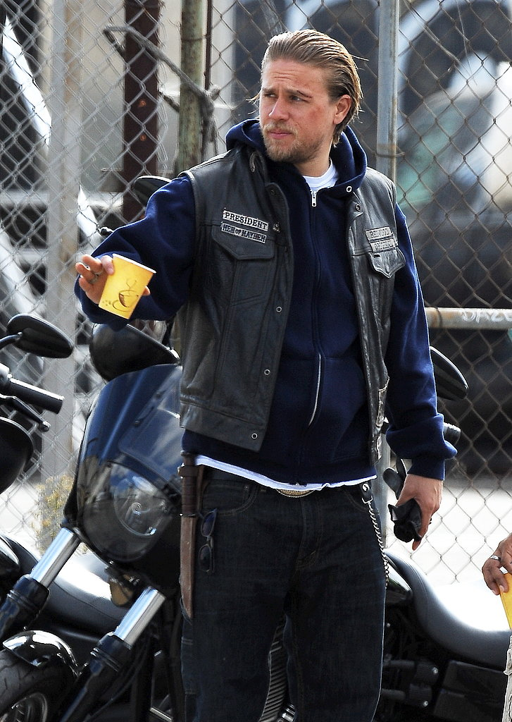 Charlie Hunnam filmed Sons of Anarchy in LA on Wednesday.