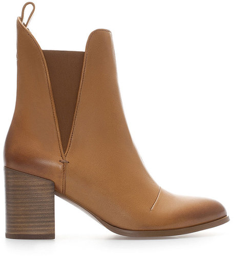 Leather Ankle Boot With Block Heel