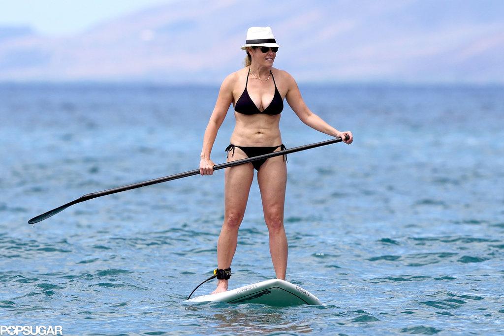 Chelsea Handler showed off her bikini body while paddleboarding in Hawaii.