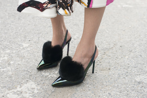 We heart these fuzzy heels.