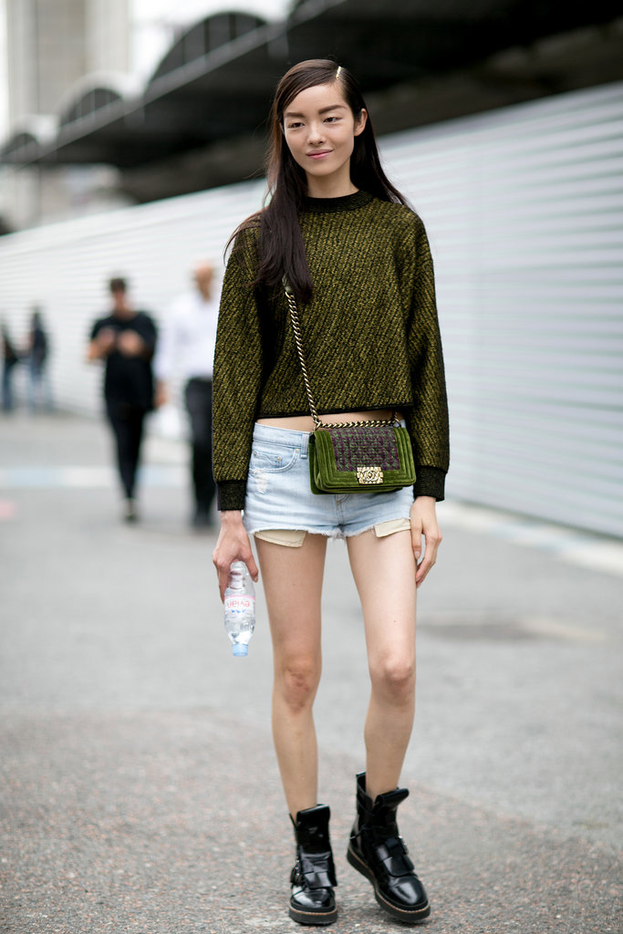 Liu Wen gave cutoffs a fashion-conscious finish.