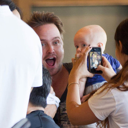 Aaron Paul Taking Pictures With a Baby in LA