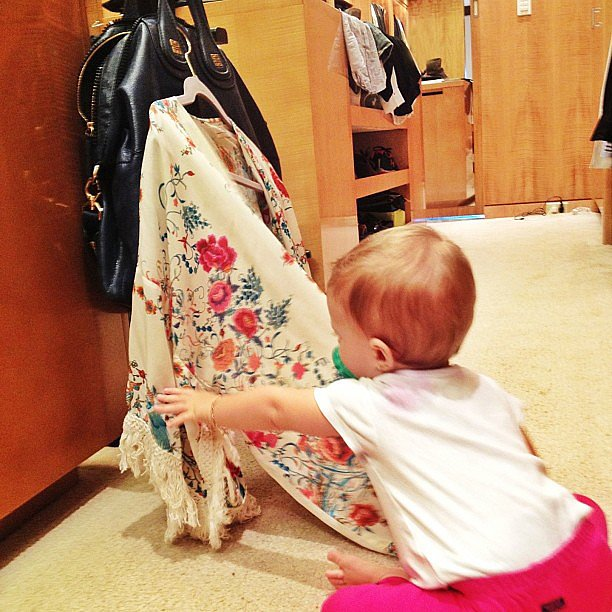 Vivian Brady helped her mom pack for a trip in her vast closet. Source: Instagram user giseleofficial