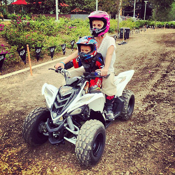 Britney Spears and Sean Federline went for a ride at his motocross-themed birthday. Source: Instagram user britneyspears