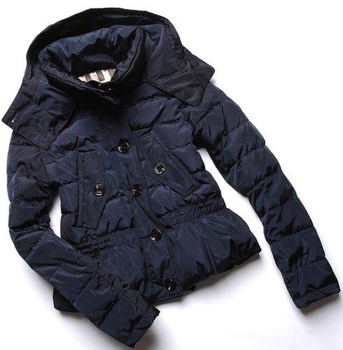 Blue Quilted Taffeta Peplum Down Jacket