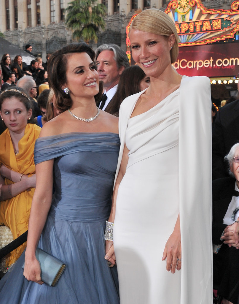 Gwyneth Paltrow and Penélope Cruz were a glamorous pair on the red carpet at the Oscars in February 2012.