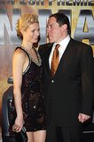 Gwyneth Paltrow stuck close to Jon Favreau at the Berlin premiere of Iron Man in April 2008.