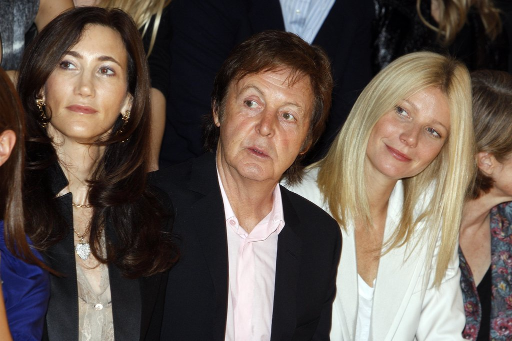Gwyneth Paltrow sat front row with Stella McCartney's dad, Paul, and his wife, Nancy Shevell, for the designer's Spring runway show during Paris Fashion Week in October 2009.