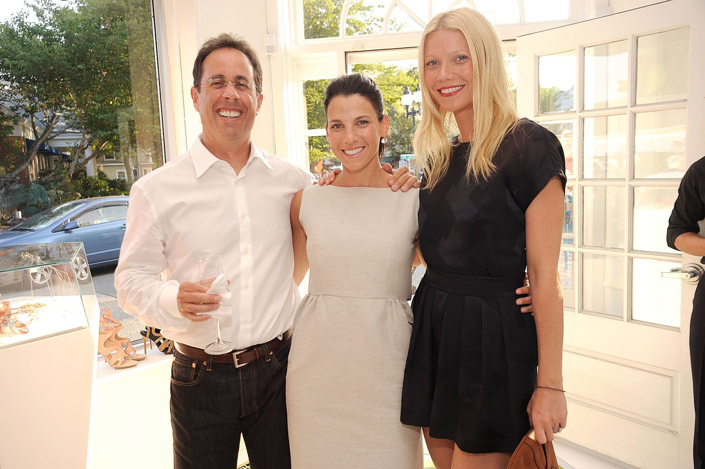 Gwyneth Paltrow hosted a Baby Buggy shopping event with her friends Jerry and Jessica Seinfeld in the Hamptons in July 2010.
