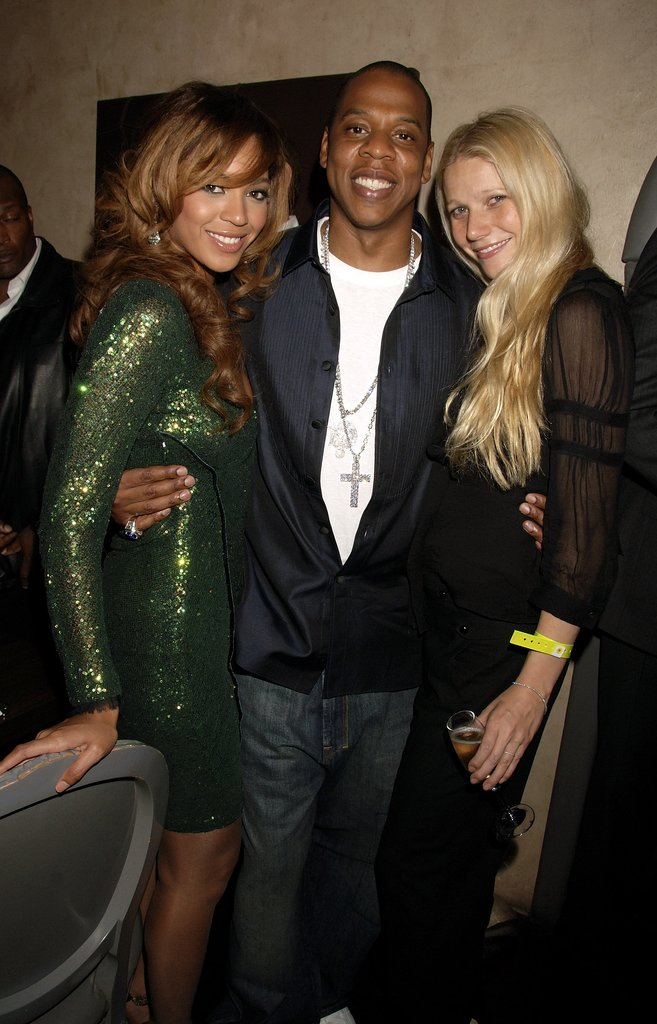 Gwyneth Paltrow met up with her good friends Beyoncé Knowles and Jay Z after his September 2006 concert in London.