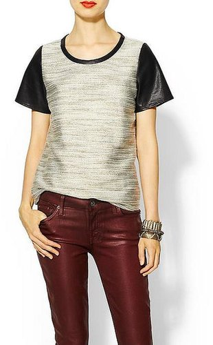 Skies Are Blue Faux Leather Detail Tweed Blouse