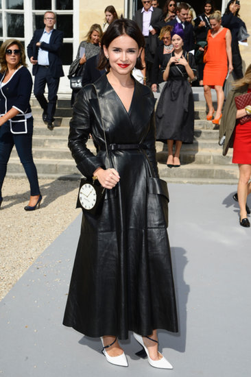 At Paris Fashion Week, Miroslava Duma made a statement in her full-length leather design outside the Christian Dior show.