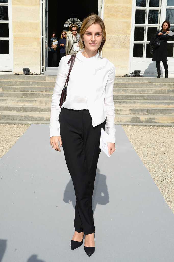 Gaia Repossi was sleek in separates at the Christian Dior Paris Fashion Week show.