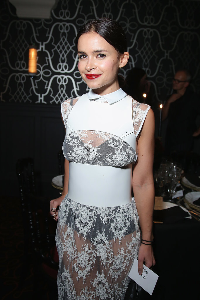 Miroslava Duma was lovely in lace at the Moncler Flagship opening.