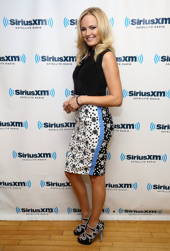 The ensemble Malin Akerman wore for her SiriusXM Studios visit in NYC was all about the bottom half. Between the printed pencil skirt and black-and-white shoes, it definitely captured our attention.