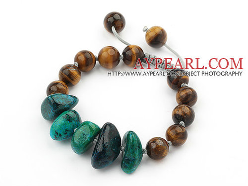 Assorted Round Tiger Eye and Phoenix Knotted Adjustable Drawstring Bracelet