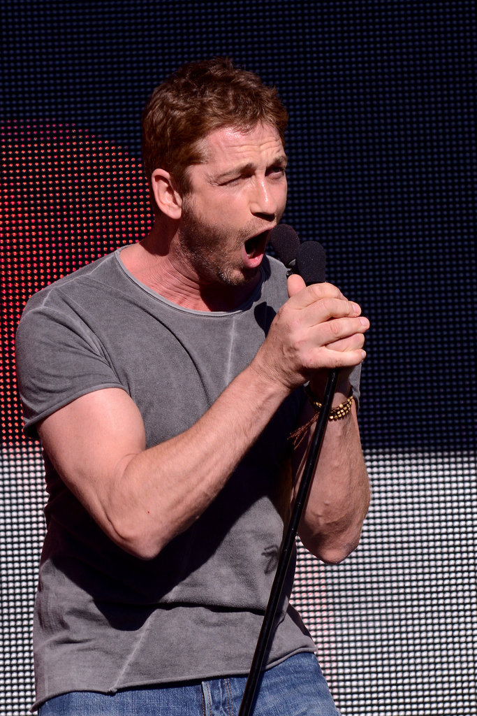 Gerard Butler pumped up the crowd in Central Park.