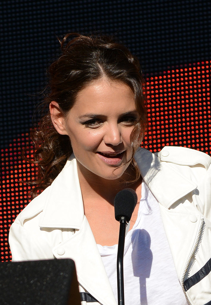 Katie Holmes took the mic at the Global Citizen Festival.