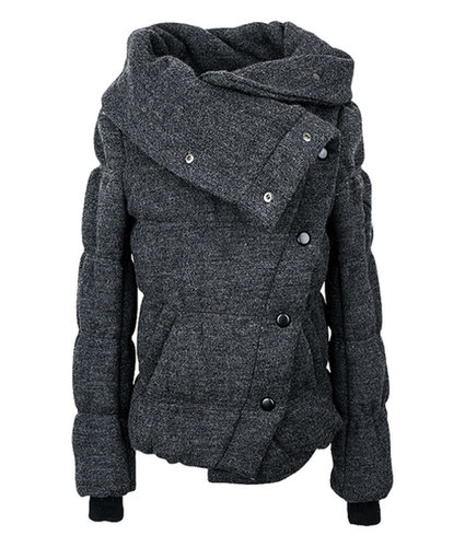 Large Lapel Single-breasted Thicker Padded Jacket (On Sale)