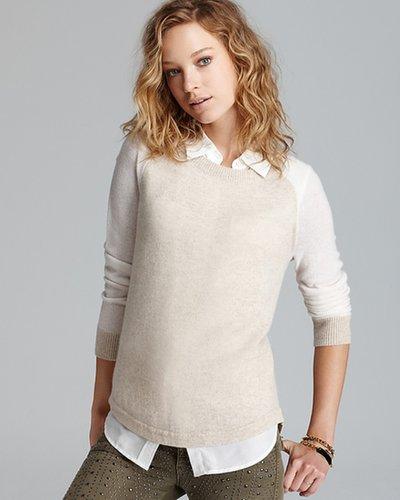 Aqua Cashmere Sweater - Baseball Color Block Wide Crewneck