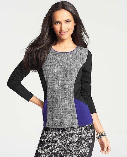 Seamed Ponte Colorblock Tweed Top