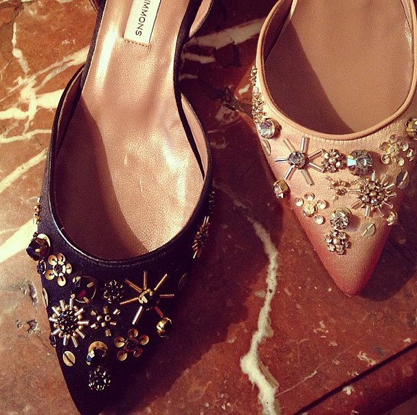 What better way to spend a rainy day in Paris than looking at shoes? The Tabitha Simmons showroom had embellished pumps destined for the red carpet. Source: Instagram user popsugarfashion