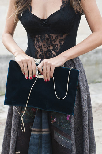A gorgeous bag is so clutch at Paris Fashion Week.