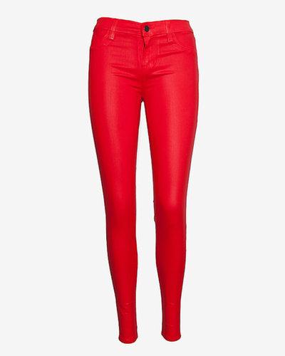 J Brand Midrise Coated Super Skinny: Red