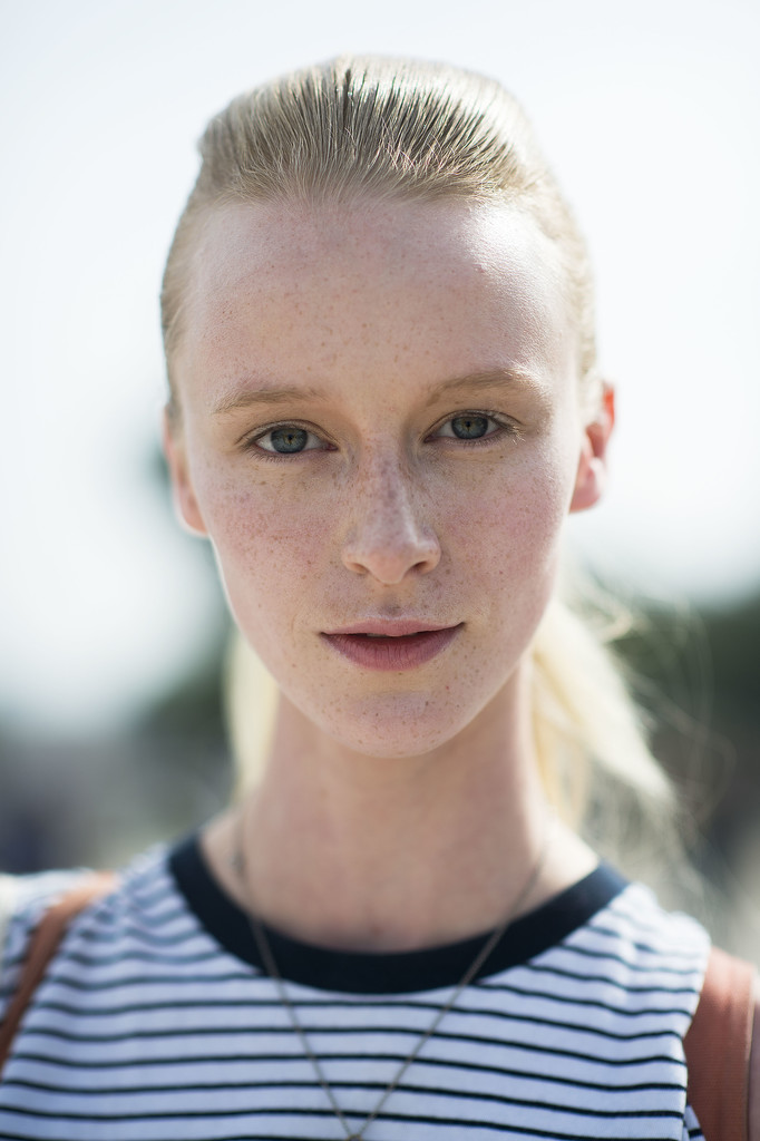 A slicked-back ponytail pairs nicely with fresh-faced makeup. Source: Le 21ème | Adam Katz Sinding