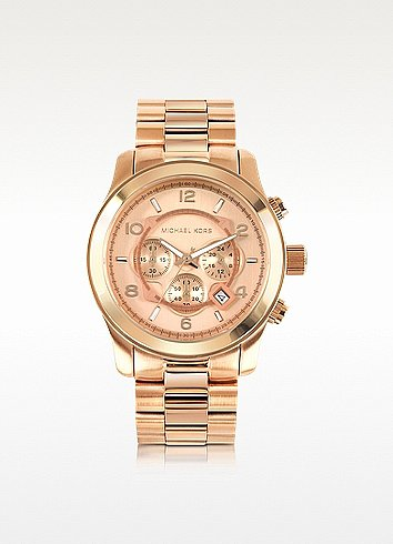 Michael Kors Men's Runway Rose Gold Plated Stainless Steel Bracelet Watch