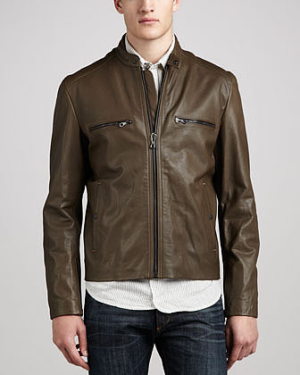 rag & bone/JEAN Army Leather Jacket with Heavy Hardware, Olive