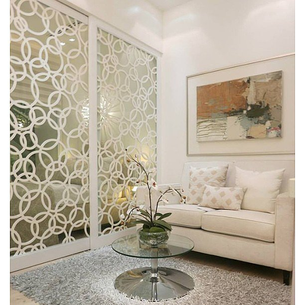 The pattern helps these mirrored walls appear more incognito but still reflects plenty of light. Source: Instagram user meilleurdesignerproducts