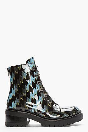 KENZO Black Patent Leather Lightning Bolt Lug Sole Mortisia Boots
