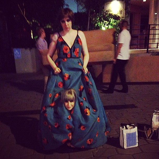 Peekaboo, we see you Rachel Antonoff. Source: Instagram user lenadunham