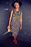 Beyoncé indulged in her Topshop obsession in a tribal-inspired formfitting top and skirt set.  Source: Instagram user beyonce