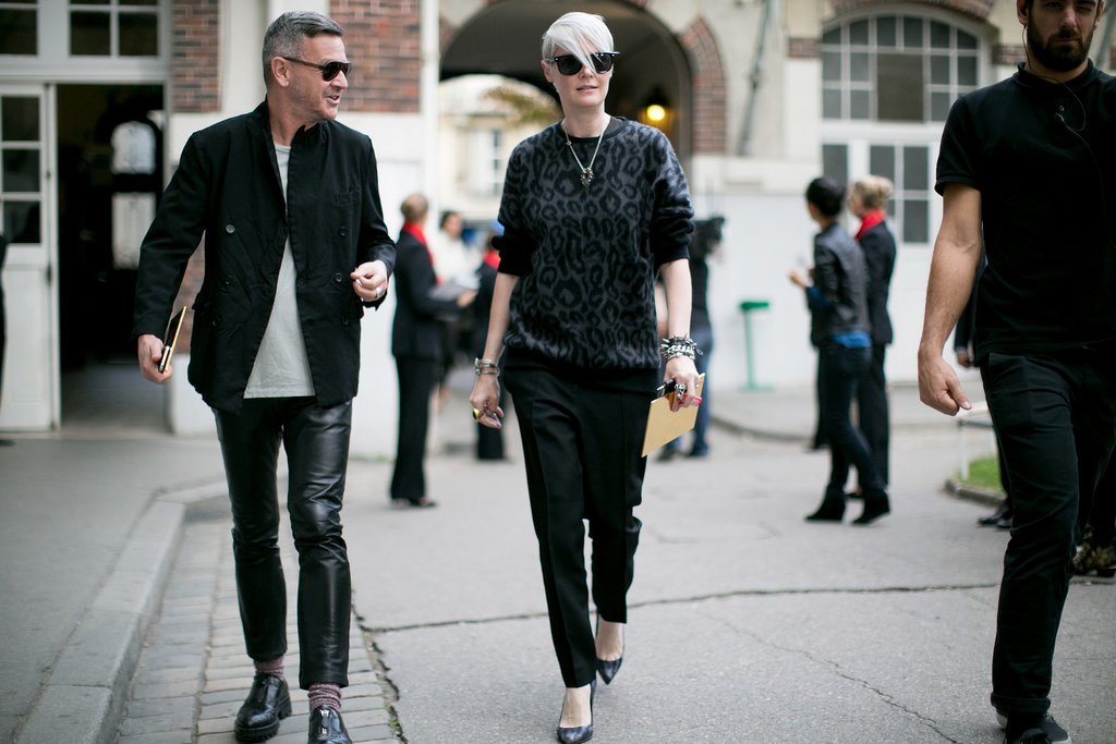 Kate Lanphear was the definition of cool in an animal-print sweater and classic shades.