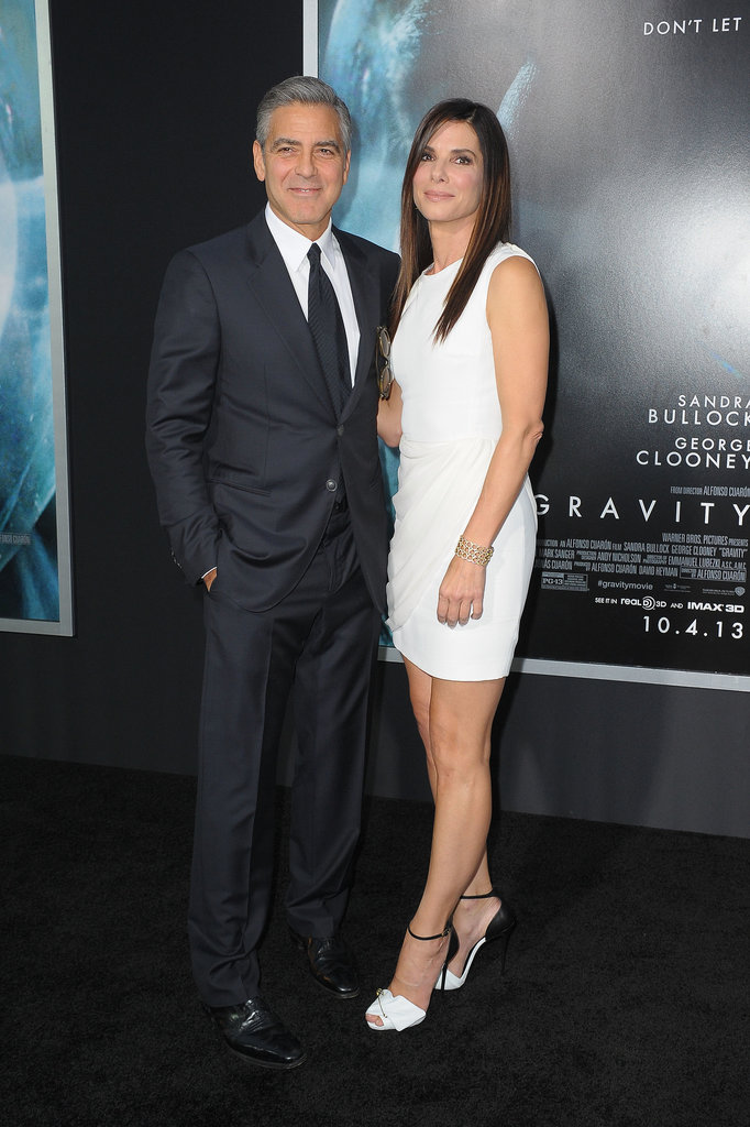 Sandra Bullock and George Clooney posed together at the NYC premiere.