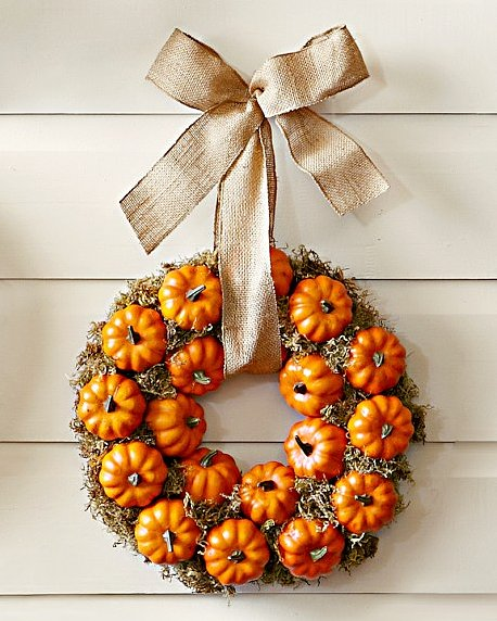 Suitable for both Halloween and Thanksgiving, this Pumpkin Patch Wreath ($100) captures the season and would make a great indoor or outdoor statement.