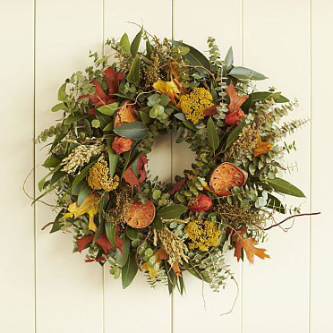 Made on a small family farm, the Fresh and Fragrant Wreath ($89) combines sliced quince with eucalyptus and sorghum.